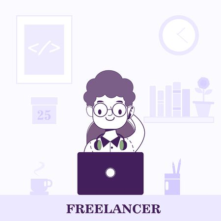 Freelancer at the workplace flat style vector illustration