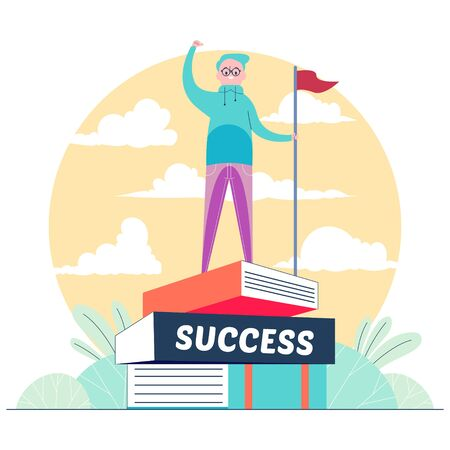 Handsome man successfully stands on a book vector illustration