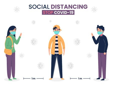 Social distancing but staying together vector illustration