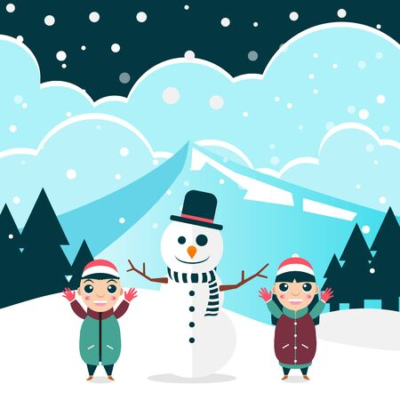 Winter flat background with kids and snowman vector illustration
