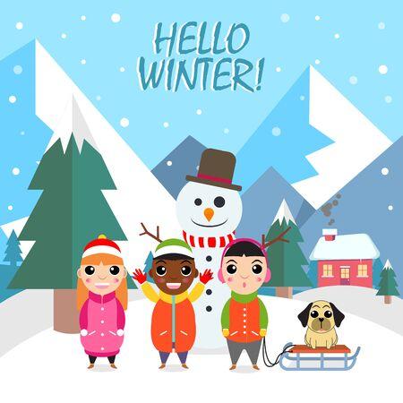 Hello winter flat background with three kids, dog and snowman vector illustration Ilustração