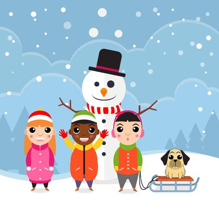 Hello winter flat background with three kids, dog, and snowman vector illustration