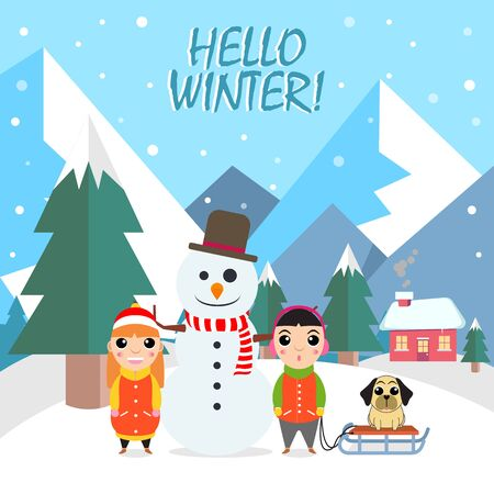 Winter flat background with two kids, dog and snowman vector illustration Ilustracja