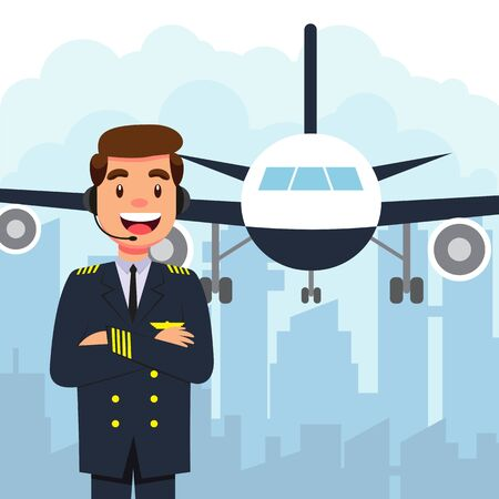 Pilot and airplane on white background vector illustration