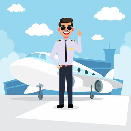 Cartoon airplane pilot vector illustration
