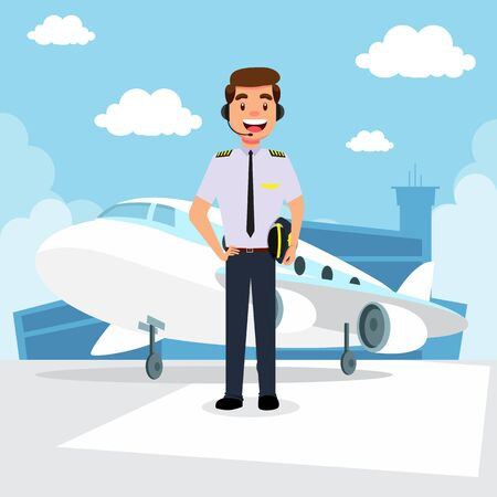 Pilot in a uniform and plane cartoon background with airport building vector illustration