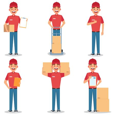 Delivery worker collection vector illustration