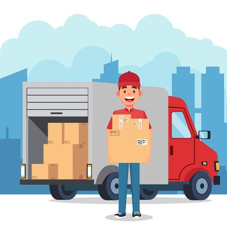 The courier brought the packet by car in the city vector illustration