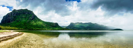 morne: Panorama of the famous Morne Brabant in the south part of Mauritius