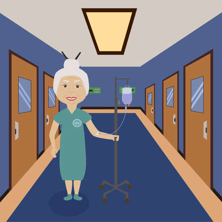 corridor: Grandmother with infusion stand in hospital corridor