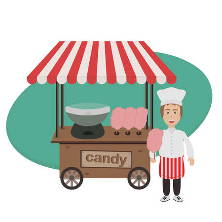 Seller of cotton candy and trolley with equipment for cooking