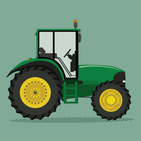 green fields: Agricultural tractor green-yellow color side view