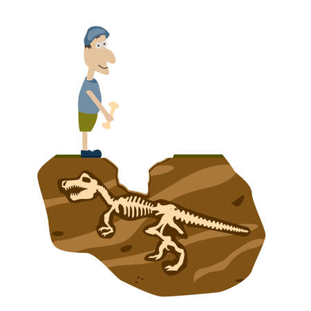 excavation: A man found a bone of a dinosaur skeleton at the excavation