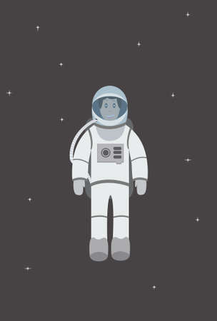outer clothing: Astronaut flies against the backdrop of starry sky Illustration
