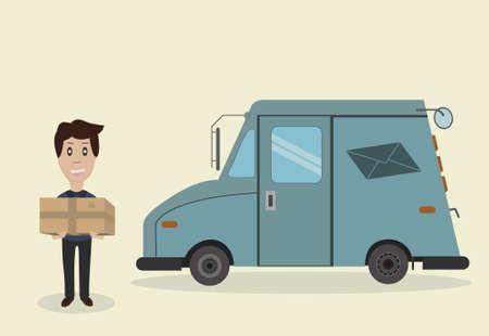 cartero: Cartero con el envío y camiones para la entrega de cartas