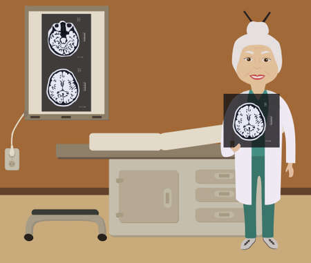 peruse: A doctor in the office holding an MRI scan of the brain