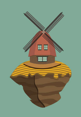 arable: Windmill and arable land on a floating island Illustration