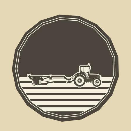 tillage: vector logo en forma de un pol�gono con un arado de tractor.