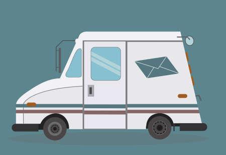 mail truck: White mail truck