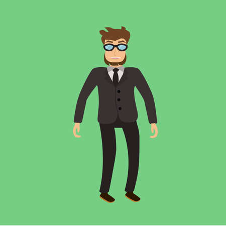 bearded man: Bearded man with glasses and a suit Illustration