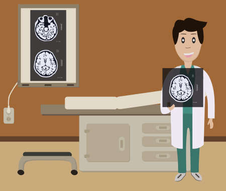 A doctor in the office holding an MRI scan of the brain