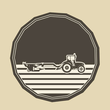 plowing: Vector logo in the shape of a polygon with a tractor plowing. Illustration