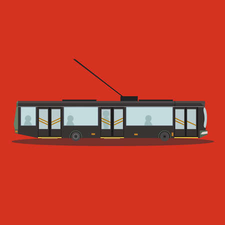 trackless: Trolleybus side view Illustration