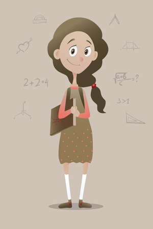 clever: Vector illustration of a clever pry schoolgirl with book