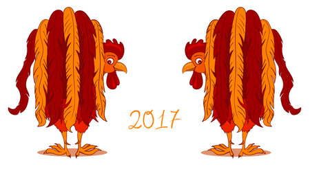 two birds: Illustration of Red Rooster, symbol of 2017 on the Chinese calendar Illustration