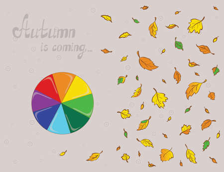 blu: Illustration of a rainbowy umbrella and colored leaves. Plan view