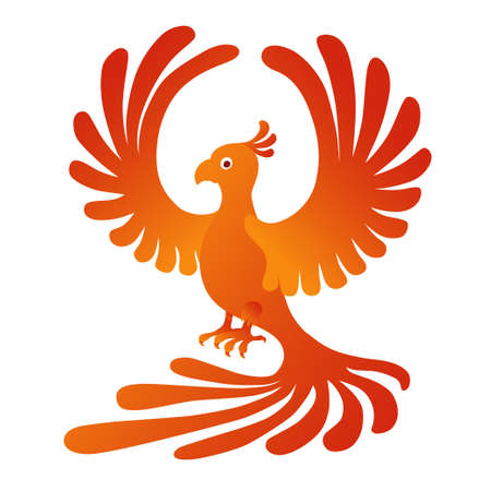 Vector illustration of the Phoenix on the white background. Fire-bird. Illustration