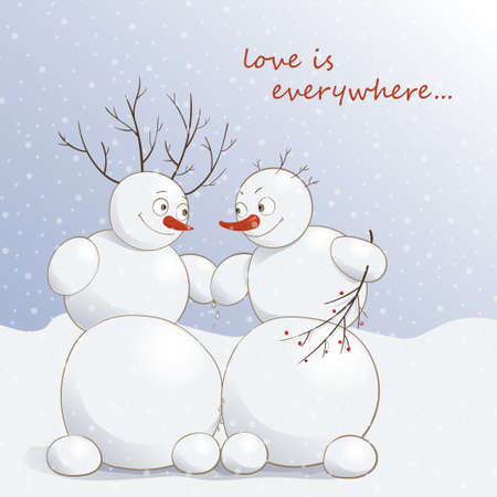 Vector illustration of cute amorous snowmen under the snow Ilustração