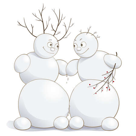 Vector illustration of cute amorous snowmen