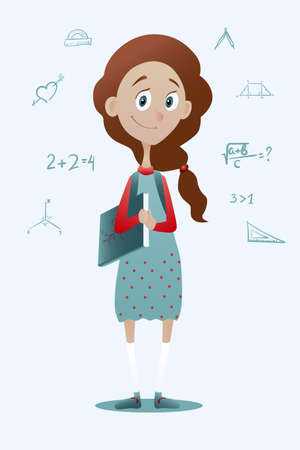pry: Vector illustration of a clever pry schoolgirl with book