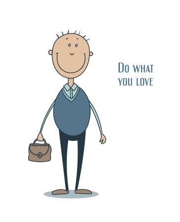 mirthful: Funny smiling man in a blue waistcoat with thin hair and with a briefcase in his hand Illustration