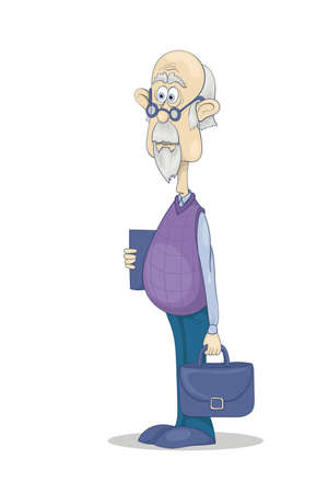 Funny bald grandfather with gray hair and beard in glasses with a brief case and a book in his hands