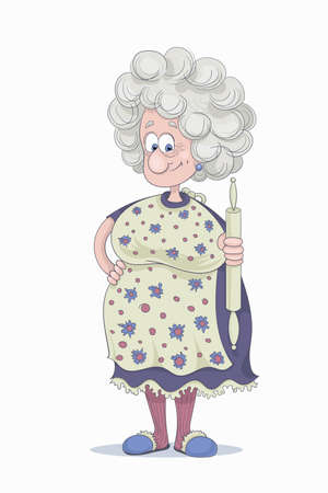 Hand drawn vector illustration of a funny smiling grandmother with gray hair in a purple dress and flowery cover-slut with a rolling pin in her hand.