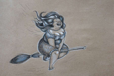 Hand drawn joyful plump witch flying on a broomstick Stock Photo