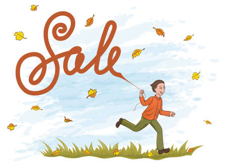 jupe: Joyful boy running on the grass with kite like lettering Sale. Yellow and orange leaves in the blue sky.
