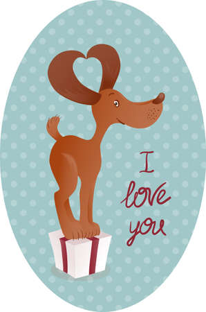 Cute smiling brown dog standing on the gift box. Background with dots and red lettering I love you.