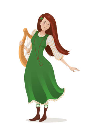 Vector illustration of an irish girl in a green dress with a harp. Cartoon character for St. Patricks day. Isolated on white background