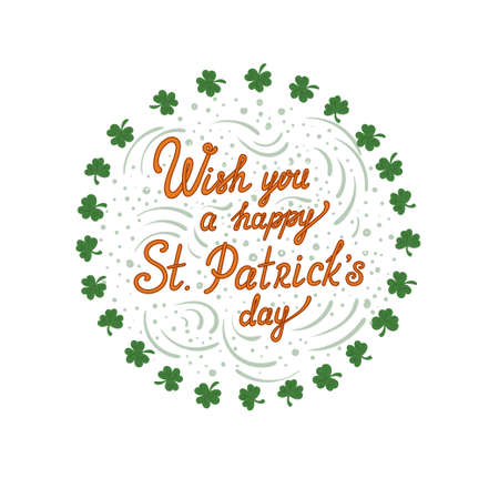 Wish you a happy St. Particks day - greeting vector card with wreath of clovers