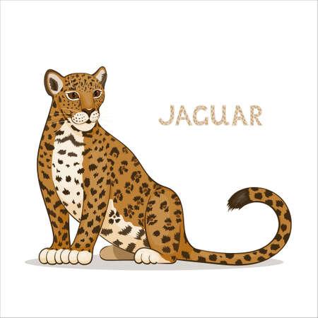 A cartoon jaguar, isolated on a white background. Animal alphabet.