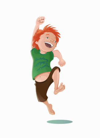 Hand drawn vector illustration of a jumping laughing carroty boy in a green tee-shirt and brown shorts.