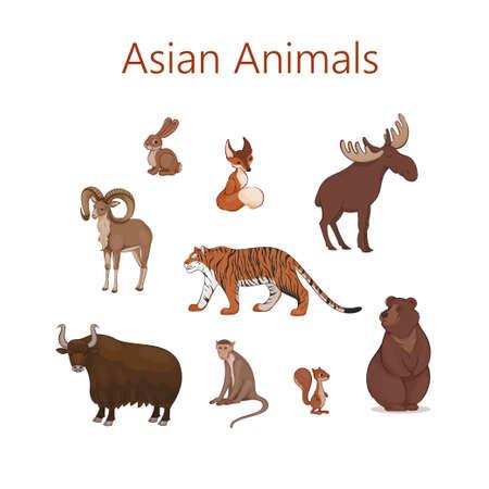 Set of cartoon cute Asian animals. Hare, fox, squirrel, elk bear urial tiger yak macaque