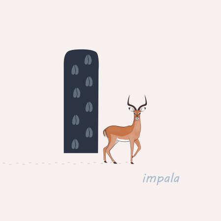 Vector illustration. Blue letter I with impalas footprints, a cartoon impala. Animal alphabet.
