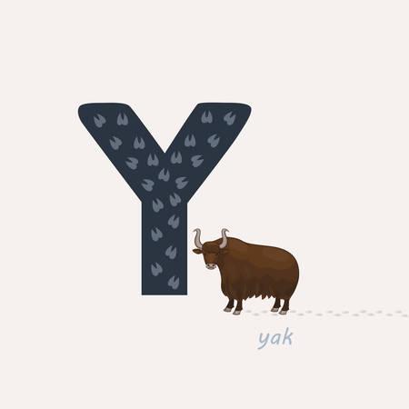 Vector illustration. Blue letter Y with yak footprints, a cartoon yak. Animal alphabet.