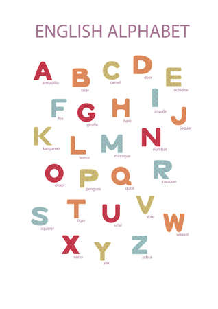 Hand drawn multicolored english alphabet on the white background. Kid style drawing font and signs ABC. Standard-Bild - 128781971