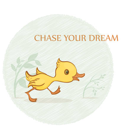 Vector hand-drawn illustration of a cute running yellow duckling with green plants, a circle and a text on a white background.