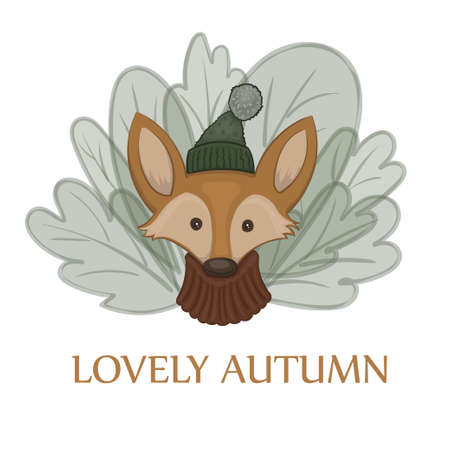 Vector illustration of a cartoon cute red fox in a warm pullover and green cap with a bob on the white background with green leaves Ilustrace